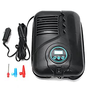 HITSAN 250PSI Portable DC 12V Car Tyre Inflator Pump Air Compressor + 3 Nozzle Adapters One Piece