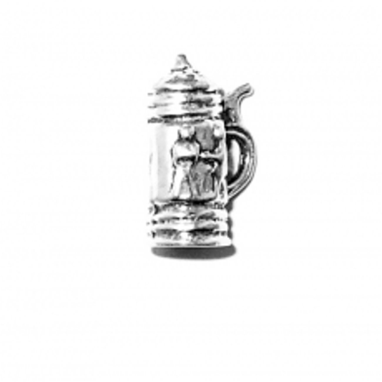 Sterling Silver Girls .8mm Box Chain 3D Small German Beer Stein People D?cor Pendant Necklace