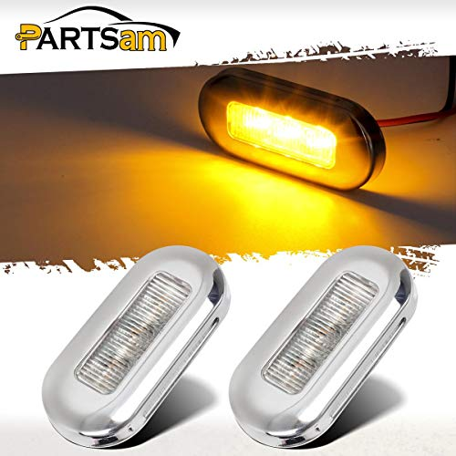 (Partsam 2 Pcs 3 Inch Marine Boat RV Amber Courtesy Cabin Walkway Stair LED Lights Polished Stainless Steel accent lighting step task lighting compartment, Anywhere you need light interior and exterior)