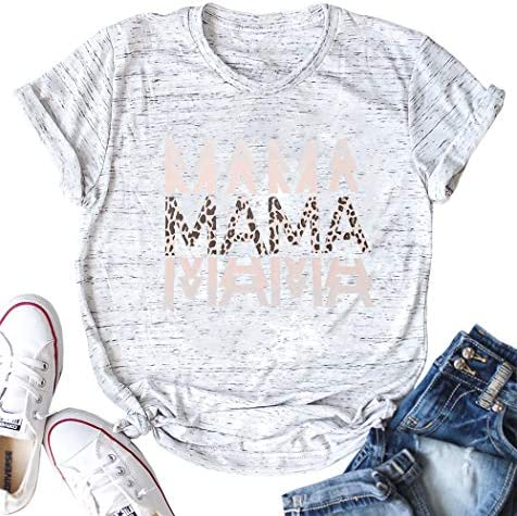 Mama Shirt for Women Mom Holiday Tees Tops Funny Leopard Graphic Short Sleeve Blouse