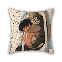 Cushion Cases Of Oil Painting Toyota Hokkei - Kaidomaru Wrestling A Carp In A Cascade For Chair Car Club Christmas Birthday Teens Girls 20 X 20 Inches / 50 By 50 Cm(two Sides)