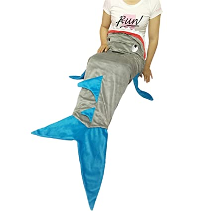 yitu tiburón cola manta super suave Minky tiburón saco de dormir para niños