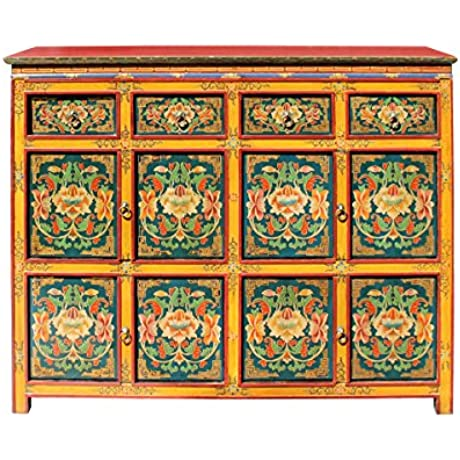 Chinese Tibetan Jewel Flower Graphic Tall Credenza Shoes Cabinet Acs2978