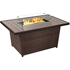 Firepits Best Choice Products 52-inch 50,000 BTU Outdoor Wicker Patio Propane Gas Fire Pit Table w/Aluminum Tabletop, Glass Wind… firepits