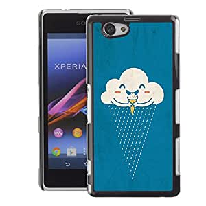 Supergiant (Cloud Ice Cream Rain Happy Cartoon) Impreso colorido protector duro espalda Funda piel de Shell para Sony Xperia Z1 Compact / Z1 Mini (Not Z1)