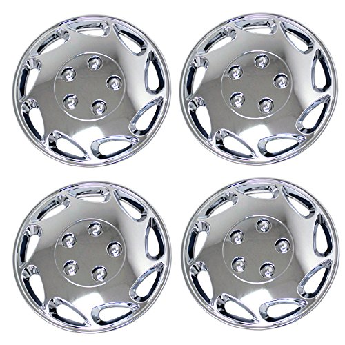 TuningPros WSC3-807C15 4pcs Set Snap-On Type (Pop-On) 15-Inches Chrome Finish Hubcaps Wheel Cover