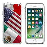 MSD Apple iPhone 7/iPhone 8 Clear case Soft TPU Rubber Silicone Bumper Snap Cases iPhone7/8 IMAGE ID 32559273 Close up of the flags of the North American Free Trade Agreement NAFTA members on textile