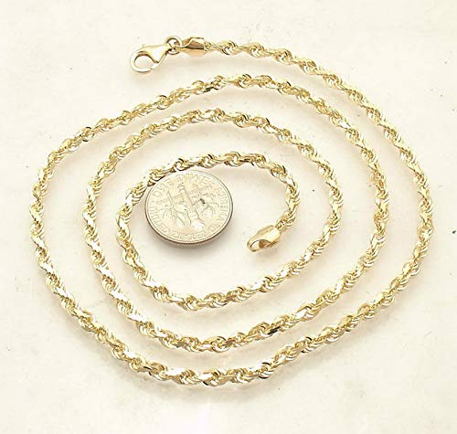 Hemau Solid Diamond Cut Chain Necklace Real 14K Yellow Gold 3.5mm 25.8gr up to 30   Model NCKLCS - 2348   ()