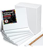 Shuttle Art Stretched Canvas, 12 Pack 11 x 14 Inch Canvases for Painting, 100% Cotton, Primed Whi...