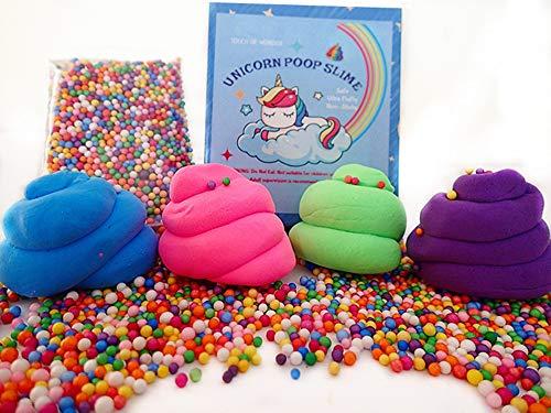 Touch Of Wonder Unicorn Slime Kit for Girls, Boys, Adults - Unicorn Poop Slime - Soft Extra Fluffy Floam Slime, Christmas Slime. Unicorn Surprise & Unicorn Gifts.