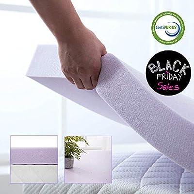 Hou Hai 3 Inch Lavender Memory Foam Mattress Topper Bed Topper