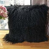 Real 100% Tibetan Mongolian Lamb Sheepskin Wool Fur Leather Pillowcase Cushion Cover,Black 20x20inches