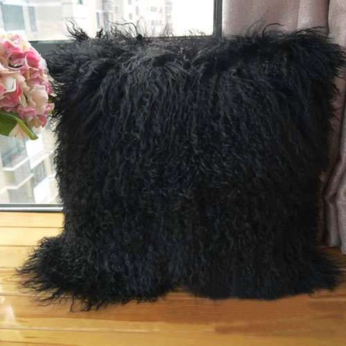 ROSE FEATHER Real 100% Tibetan Mongolian Lamb Sheepskin Wool Fur Super Soft Plush Leather Pillowcase...