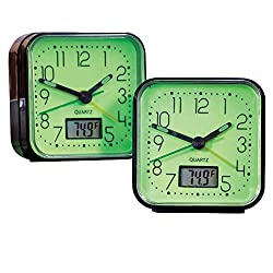 Collections Etc Glow in The Dark Alarm Clocks - 2 Pc, Black