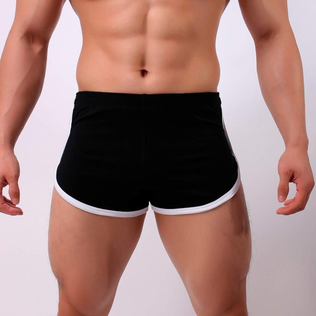 Fasclot Mens Underwear Fast-Drying Sweat-Absorbing Bodybuilding Short Mens Low Rise Splicing Soft Four Angle Men Underpants