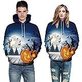 Men Women Autumn Warmer Long Sleeve Halloween Costume Couples Hoodies Top Blouse Shirts Sweatshirt (2XL, Blue)