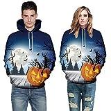 Men Women Autumn Warmer Long Sleeve Halloween Costume Couples Hoodies Top Blouse Shirts Sweatshirt (5XL, Blue)