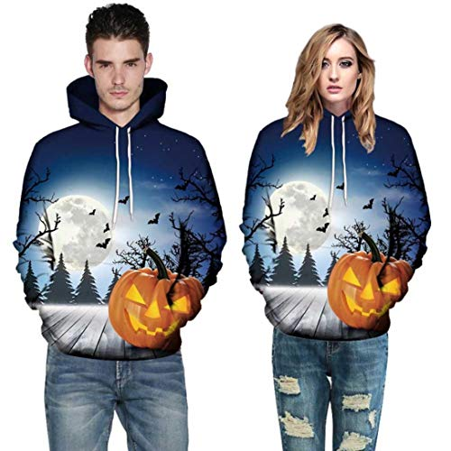 Men Women Autumn Warmer Long Sleeve Halloween Costume Couples Hoodies Top Blouse Shirts Sweatshirt (2XL, Blue)