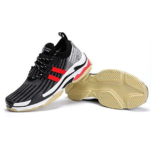 Devisto Chaussures de Sport Homme Été Mesh Course Basses Baskets Casual Lacets Athlétisme Gym Running Shoes 39-46 Noir+ Rouge ELFrbGevvB