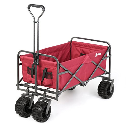 (Sekey Folding Wagon Cart Collapsible Outdoor Utility Wagon Garden Shopping Cart Beach Wagon with All-Terrain Wheels, 265 Pound Capacity, Red)