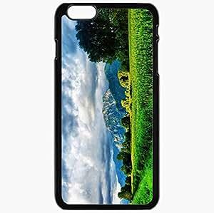 Unique Design Fashion Protective Back Cover For iPhone 6 Plus Case Slim (5.5 inch) Green Field Landscape 20587 Nature Black