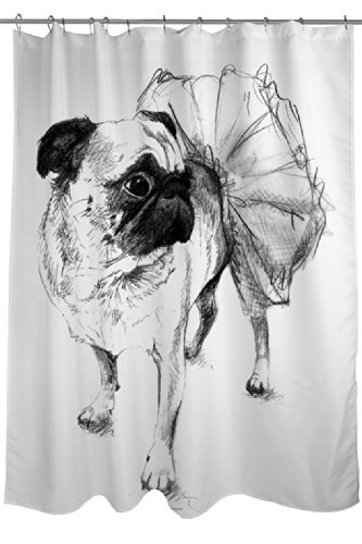 Manual Woodworkers & Weavers Shower Curtain, Ballerina Pug Chloe by Manual Woodworkers & Weavers