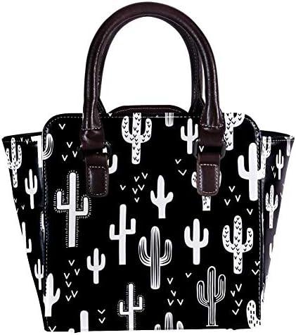 Borsa a tracolla da donna in pelle con manico superiore, con motivo a cactus occidentale