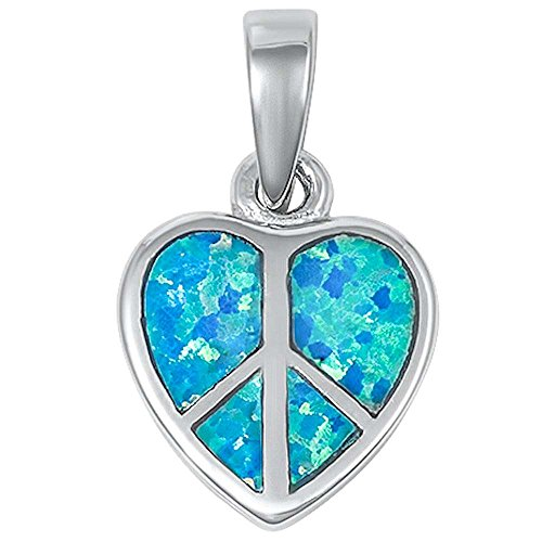 Lab Created Blue Opal Peace Sign Heart .925 Sterling Silver Pendant 15mm 13845