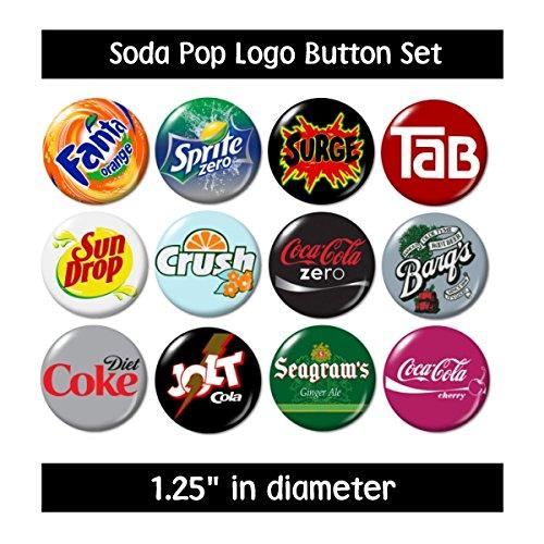 Soda Pop Logo Buttons Pins (set #2) -