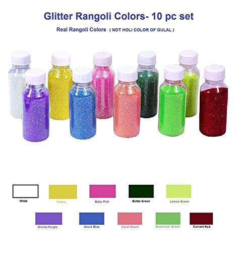 More Quantity-Easy to Store Glitter Rangoli Colors. Real Rangoli Colours kit (NO GULAL).Festival/Festive Vibrant Colours for Diwali, Diwali Gift.(10 Shades). 65 GM Color per Bottle.Indian Gift Items