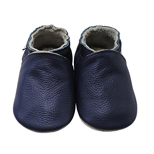 Mejale Baby Shoes Soft Soled Leather Moccasins Anti-skid Infant Toddler Prewalker(navy blue,3-6 months) (Baby Blue 12)