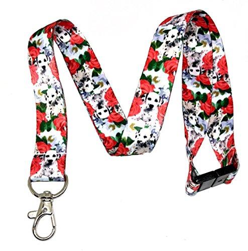 Dalmatian Keychain - Dalmatians & Roses Print Break Away Lanyard Key Chain Id Badge Holder