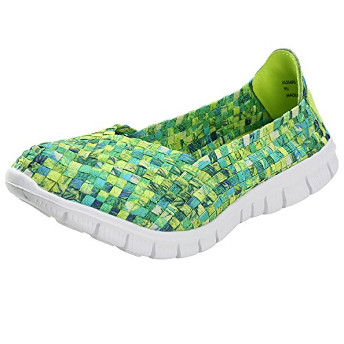 Alexis Leroy Women's Comfort Elastic Woven Slip On Loafer Shoes Green Multi 37 M EU / 6-6.5 B(M) US