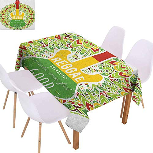 Fabric Dust-Proof Table Cover Rasta Reggae Music Makes Me Feel Good Quote Jamaican Island Culture Iconic Guitar Easy to Clean W60 xL84 Green Yellow and Red