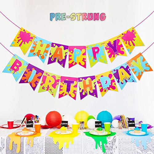 Slime Banner for Slime Birthday Party Baby Shower Painting Party Art Theme Party Decoration Supplies]()