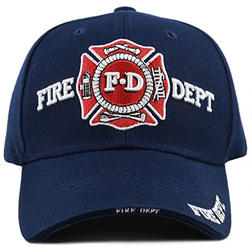 THE HAT DEPOT Law Enforcement Police Officer 3D Embroidered Baseball Cap (FIRE DEPT-Navy) (Embroidery Fire Dept)