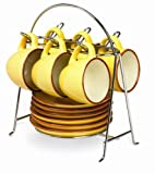 IMUSA USA A120-22123 Espresso Set with Chrome Storage Rack 12-Piece, Yellow