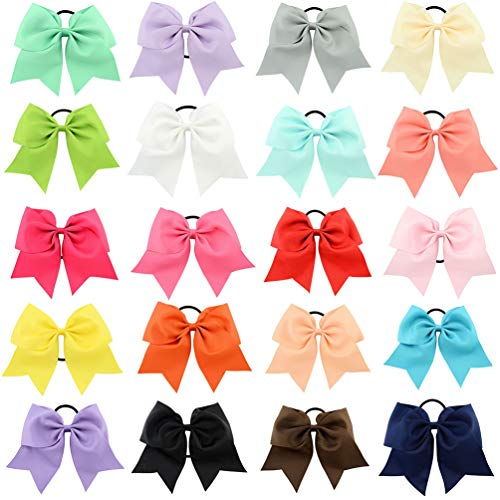 8 Inch Large Cheer Leader hair Tie Bows For Girls Outfit Grosgrain Bands Holders 20 Pcs (00 Tie)