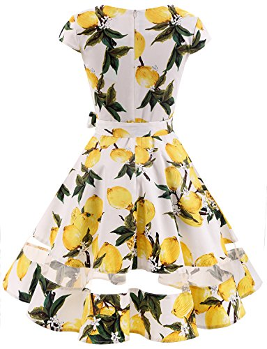0ed9a42c198 Gardenwed Women s Vintage 1950s Retro Rockabilly Swing Dress Cocktail Dress  with Sleeves