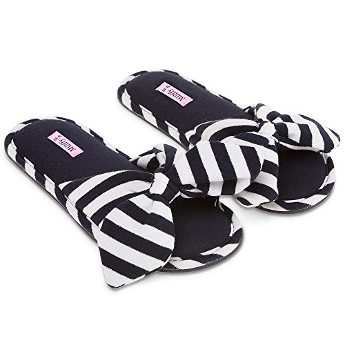 Millffy 2018 New Summer Sweet Ladies Shoes Pink Home Slippers Cotton Indoor Slides Knot Stripe Slippers