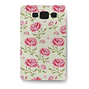 Leather Folio Phone Case For Samsung Galaxy S3 Leather Folio - Pink Roses with Green Leaves Flip Soft
