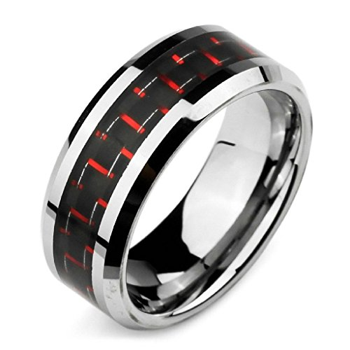 [MoAndy Mens Wide 8mm Tungsten Carbon Fiber Rings Comfort Fit Band Silver Red Black Polished Size 12] (Plus Size Easter Bunny Costumes)