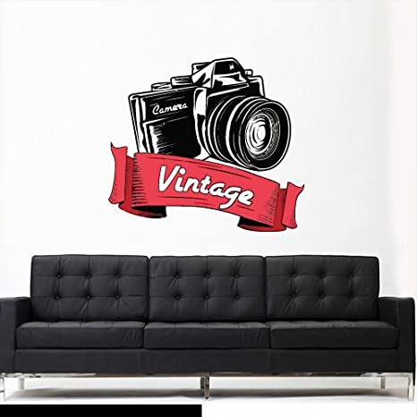 Col653 Full Color Wall Decal Sticker Camera Photo Vintage Ribbon Sign Words