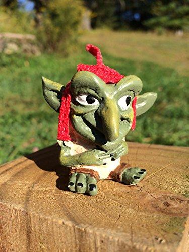 Sprite Brownies - Miniature Faerie Garden Goblin Or Troll With Felt Red Cap Perfect For Troll Bridges Or Faerie Gardens
