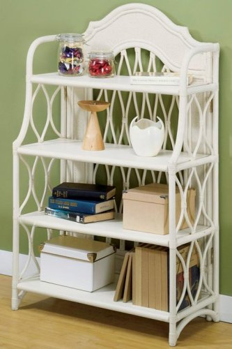 Rattan Wicker Bookcase Four Shelf Antique White