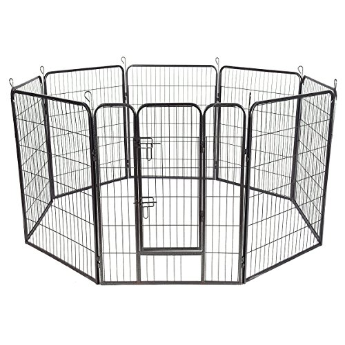 Infinity Waterer (Pet Puppy Dog Playpen 8 Panel Exercise Kennel Fence Metal (40