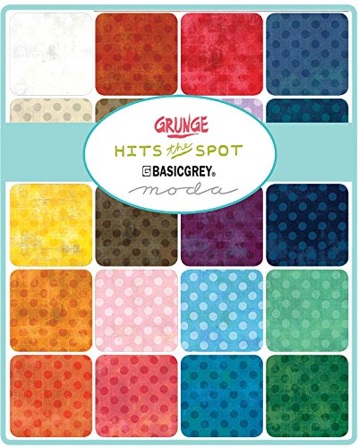 BasicGrey Grunge Hits The Spots New Charm Pack 42 5-inch Squares Moda Fabrics (Hits Pack)