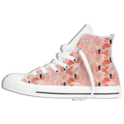 Flamingo Mönster Hög Topp Klassiska Tygskor Mode Sneaker Vit