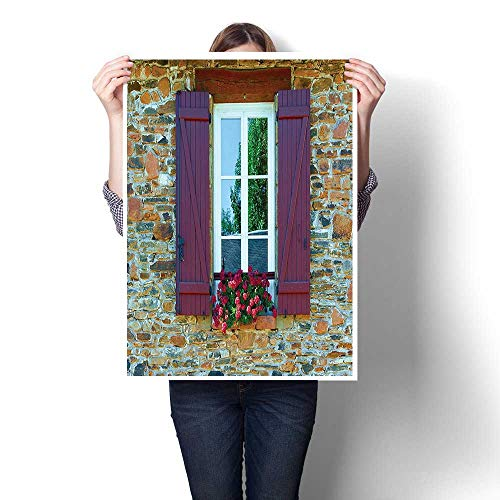 Canvas Wall Art for Bedroom Home Decorations,Collection Image of Modern Brick House with Window Shutters and Flowers Mediterranean STYL Painting,for Home Decoration,28