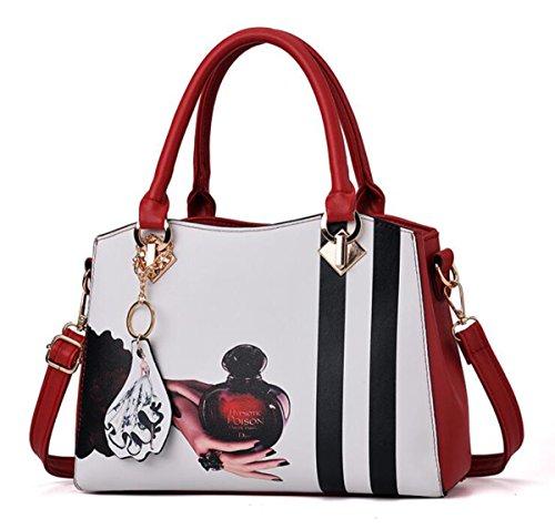 Women's PU Leather Tote Block Exquisite Retro Stylish Print Pattern Bag Rectangular Rivet Zipper Handbag (Tote Retro Leather)